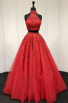 2 Pieces Red Long High Neck Lace Tulle Quinceanera Dresses Prom Dresses Z0765