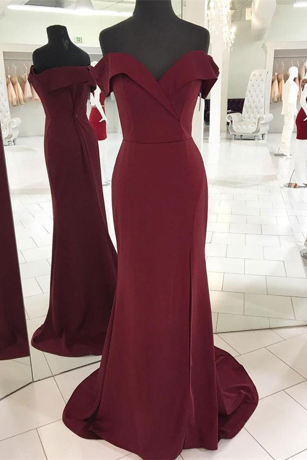 Off The Shoulder Mermaid Burgundy Long Open Back Simple Cheap Prom Dresses Z0768