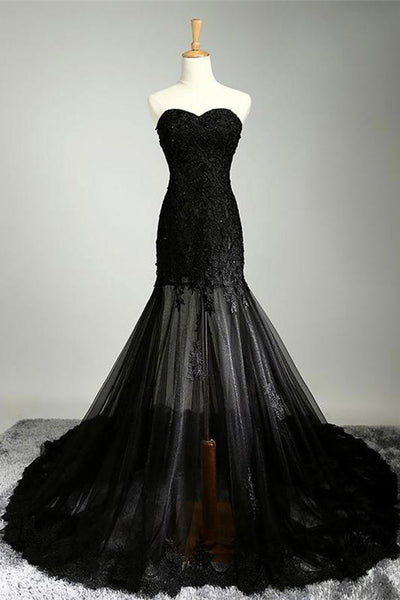 Charming Long Mermaid Black Lace Tulle Strapless Sheath Evening Prom Dresses Z0769