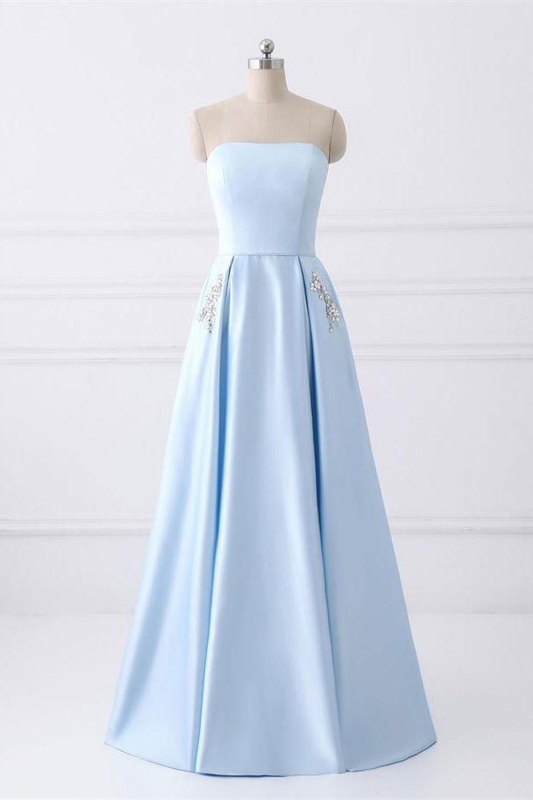 Lovely Long Sky Blue Beaded Satin Lace Up Strapless Elegant Prom Dresses For Teens Z0772