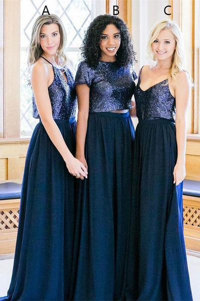 Navy Blue Long 2 Pieces Simple A-line Bridesmaid Dresses Prom ...