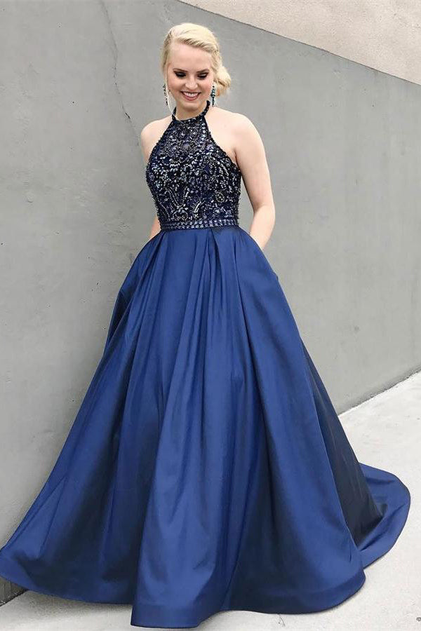 Beautiful Beading Blue Halter Long Backless Graduation Dresses Prom Dresses Z0776