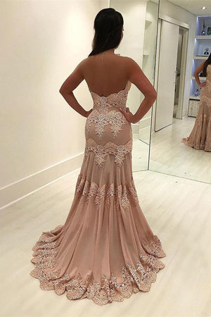 Charming Long Mermaid Sweetheart Lace Beading Open Back Prom Dresses Z0777