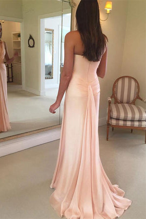One Shoulder Long Open Back Simple Elegant Pink Wedding Prom Dresses Z0778