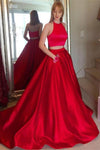 Sparkly Long 2 Pieces Red Satin Halter Open Back Simple Elegant Prom Dresses Z0779