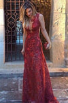 Pretty Red Long Deep V-neck Elegant Lace Prom Dresses Women Dresses Z0782