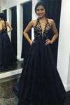 Beautiful Halter Backless Long Black A-line Lace Elegant Prom Dresses For Teens Z0786