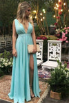 Simple Classy Long V-neck Cheap Prom Dresses Graduation Dresses Z0787