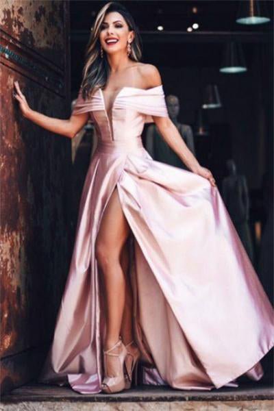 Pink Off The Shoulder Long A-line Elegant Beauty Prom Dresses Party Dresses Z0789