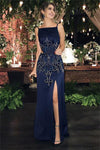 Sheath Long Open Back Front Split Navy Blue Beading Evening Prom Dresses Z0818