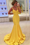 Charming Long Mermaid Yellow Simple Cheap Beauty Evening Prom Dresses Z0822