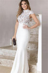 Lovely Long Elegant White Mermaid High Neck Cap Sleeves Lace Prom Dresses Z0823