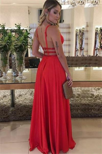 Modest Red V-neck Long Open Back A-line Simple Cheap Prom Dresses Z0827