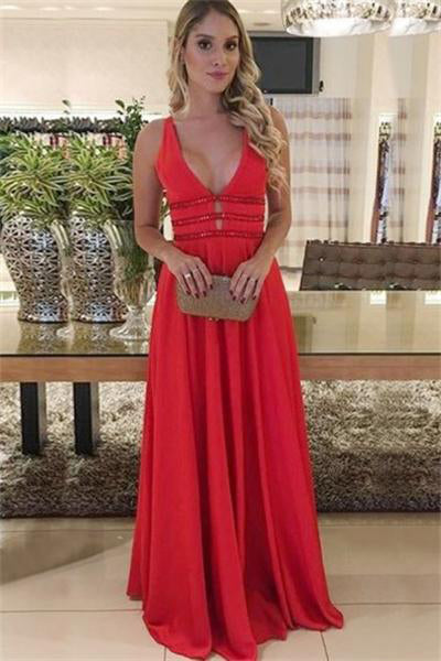2eb272e138c Modest Red V-neck Long Open Back A-line Simple Cheap Prom Dresses Z0827