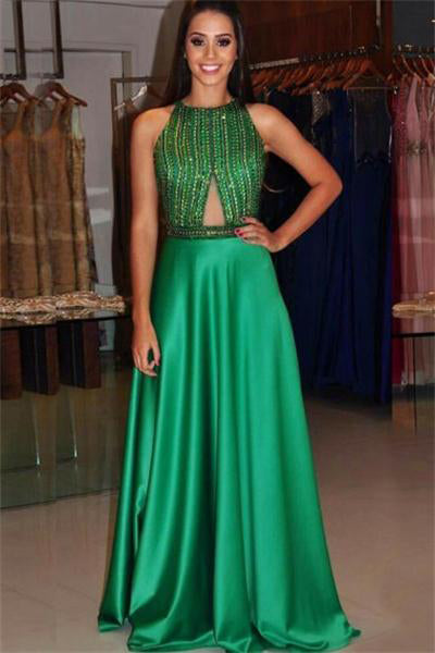 Beading Long Green A-line Open Back Floor Length Prom Dresses Women Dresses Z0828