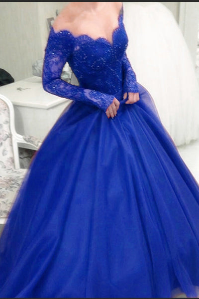 Formal Long Ball Gowns Long Sleeves Royal Blue Princess