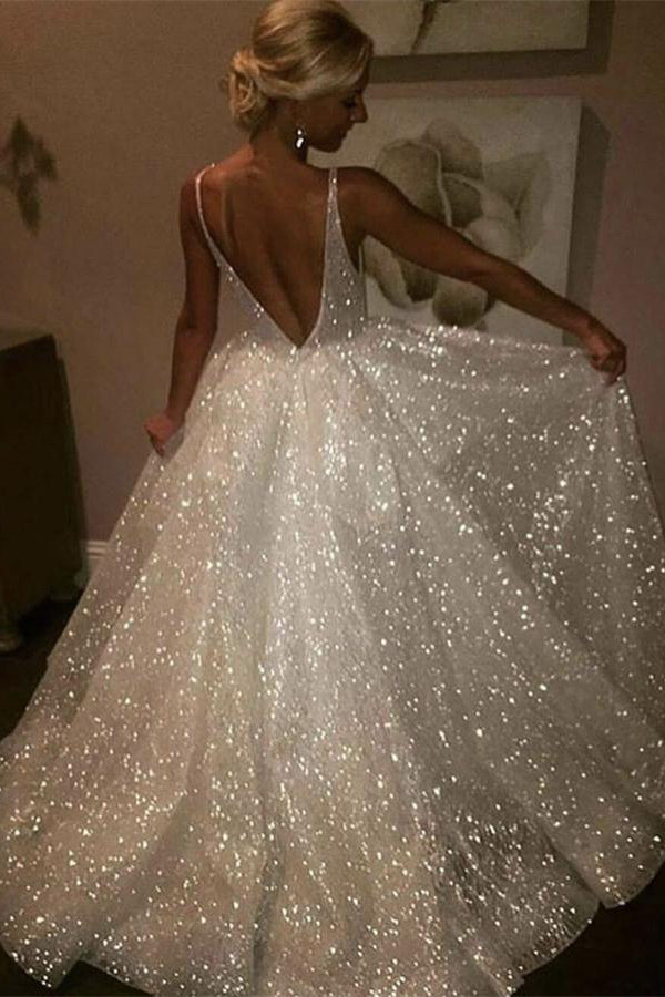 Sparkly Beautiful Elegant Long Ivory Backless Wedding Dresses Prom Dresses Z0833