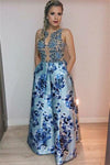 Long Elegant A-line Beautiful Flower Pattern Modest Evening Prom Dresses Z0834