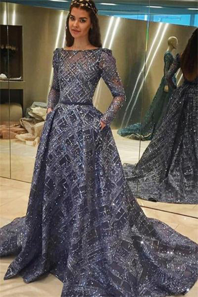 Charming Long Beautiful Long Sleeves Open Back Modest Prom Dresses Z0836