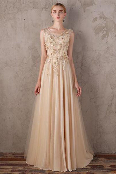0d90c60709ad Elegant V-neck Long Lace Up Flowy Chiffon Tulle Simple Cheap Prom Dresses  Z0839