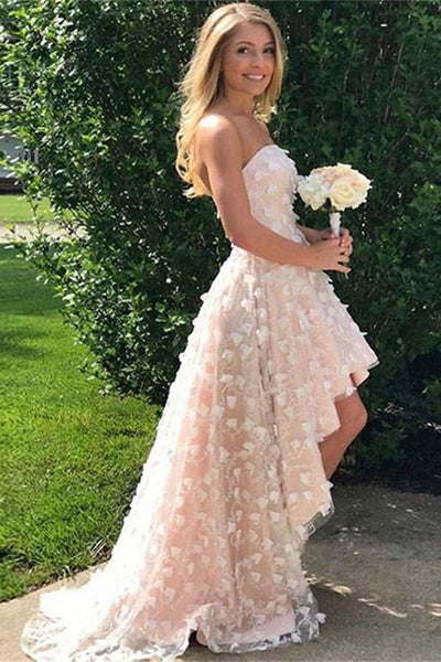 Beautiful Short Front Long Back Strapless Long Princess Prom Dresses ...