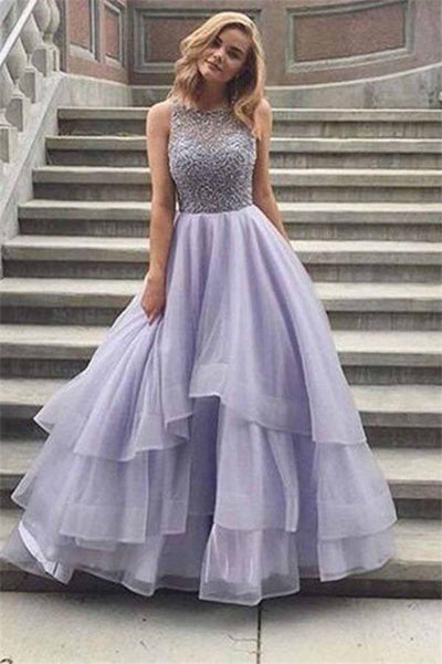 Elegant Long Beautiful Charming Beading Tulle Princess Dresses Prom Dresses Z0847