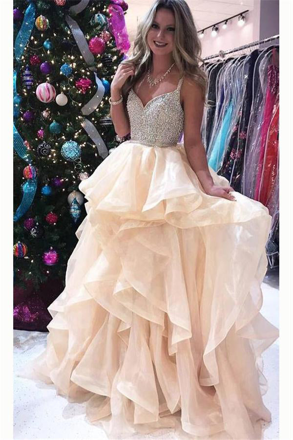 3c3157f348 Spaghetti Straps Long Ball Gowns Beading Open Back Elegant Prom Dresses  Z0848