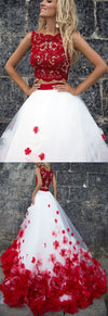 Beautiful Long White And Red 2 Pieces Elegant Lace Princess Prom Dresses Z0851