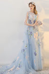 Pretty Long Flowy Light Blue Elegant Simple Cheap Wedding Prom Dresses Z0855