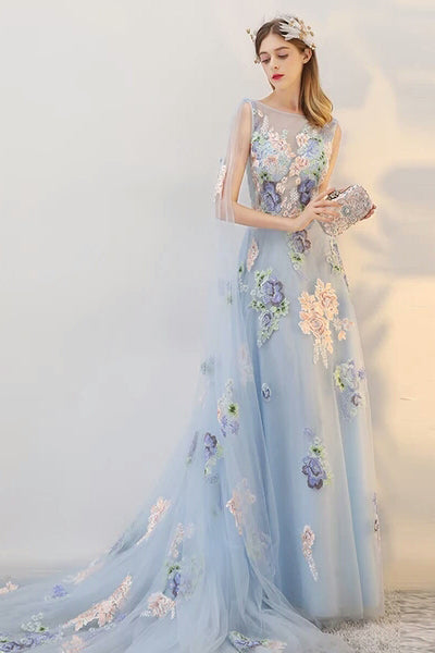 6f5563c9971 Pretty Long Flowy Light Blue Elegant Simple Cheap Wedding Prom Dresses Z0855