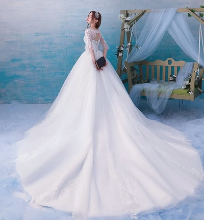 Half Sleeves Long Elegant Ball Gown White Lace Tulle Wedding Dresses ...