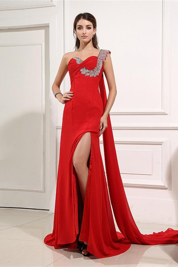 Beautiful Long Red One Shoulder Beading Sheath Backless Prom Dresses Z0861