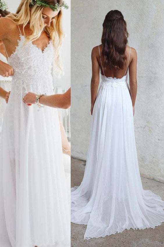Spaghetti Straps Long White Lace Chiffon Elegant Beach Wedding Dresses Z0879