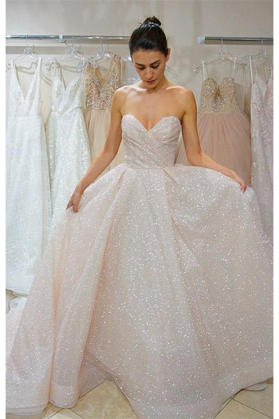 Sweetheart Elegant Lace Up Long Sparkly Wedding Dresses Prom Dresses ...