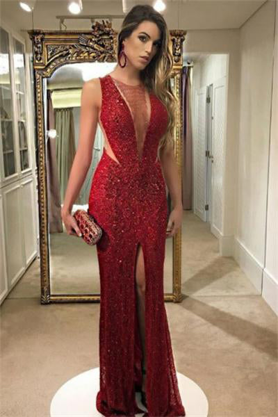 Red Sparkly Long Sheath Front Split Sexy Prom Dresses Evening Dresses Z0886