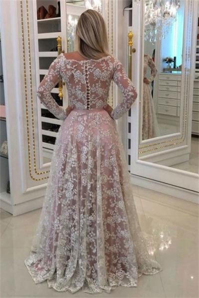 Ivory And Pink Long Lace A-line Elegant Prom Dresses With Sleeves Z0888