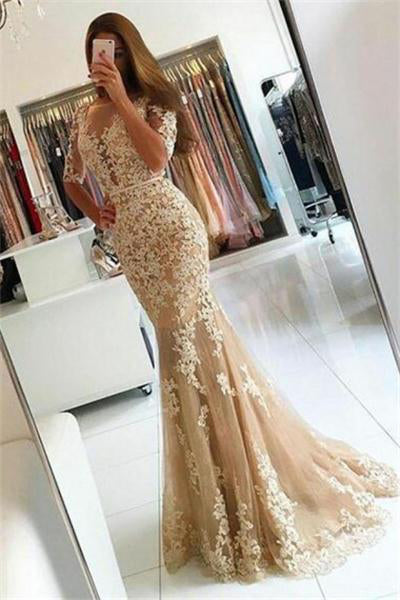 Classy Open Back Long Lace Tulle Mermaid Modest Prom Dresses With Sleeves Z0899