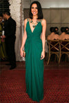 Pretty Simple Green Long Spaghetti Straps Chiffon Open Back Prom Dresses Z0901
