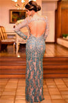 Gorgeous Long Sleeves Sheath Modest Elegant Prom Dresses Women Dresses Z0903