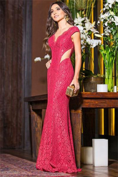 Pretty Red See Through Long Sheath Lace Prom Dresses Evening Dresses Z0906