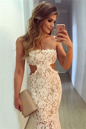Formal Elegant Ivory Long Lace Wedding Party Dresses Prom Dresses Z0907