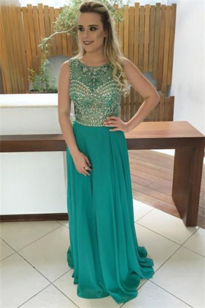 Flowy Long Chiffon Beading Beautiful A-line Scoop Neckline Prom Dresses Z0910