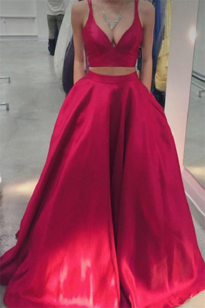 Cheap 2 Pieces Long Simple Spaghetti Straps Red Prom Dresses With Pockets Z0912