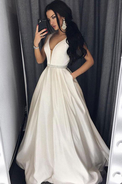 Modest Ivory Long Deep V-neck Simple Prom Dresses With Pockets Z0915