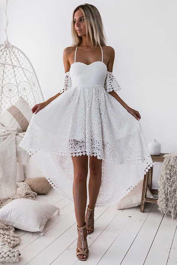 Elegant White High Low Lace Long Spaghetti Straps Homecoming Dresses Z0927