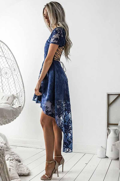 Charming High Low Short Sleeves Blue Lace Homecoming Dresses Z0930