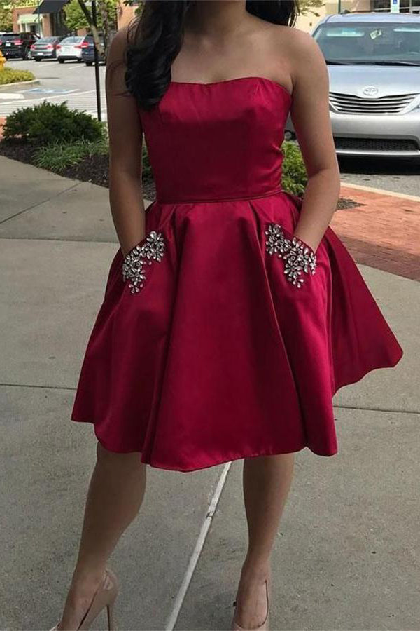 Strapless Short Beading Red Homecoming Dresses With Pockets Z0931