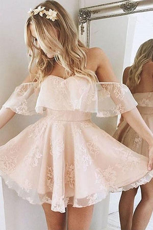 Lovely Short Pink Off The Shoulder Zipper Back Lace Homecoming Dresses Z0936