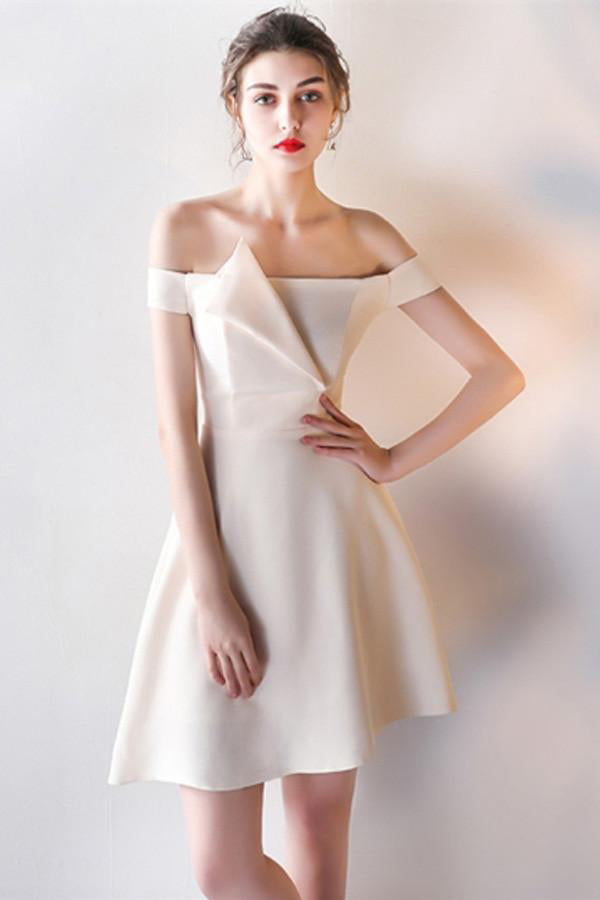 Modest Classy Simple Cheap Short Off The Shoulder Homecoming Dresses Z0937