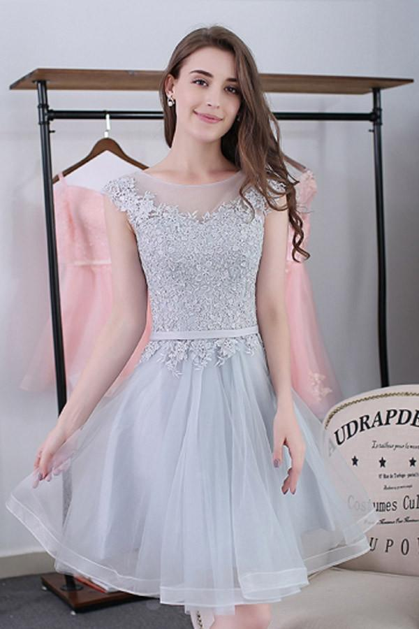 Elegant Cap Sleeves Gray Lace Tulle Short Simple Homecoming Dresses Z0941
